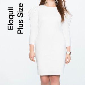 Eloquii Puff Sleeve Shift White Dress Plus Size 16